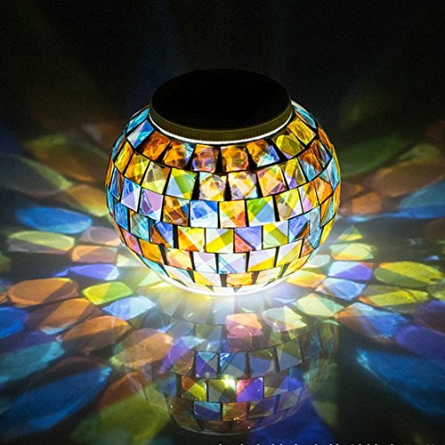 Color Changing Solar Powered Glass Ball Garden Lights, Aukora Solar Table Lights Waterproof Solar Led Night Light for Patio Garden Wedding Christmas Outdoor Decoration, Ideal Gift(Mosaic Glass)