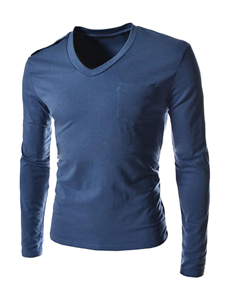 b7cf04f6b ... gives it a nice amount of stretch,the material is quite soft and gentle  against your skin. Mens Long Sleeve V Neck Basic Undershirt Cotton T Shirts