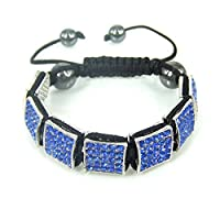 WeMore(TM) Fashion shamballa handmade full crystal geometric square black beads pendant bracelet