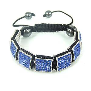 WeMore(TM) Fashion shamballa handmade full crystal geometric square black beads pendant bracelet