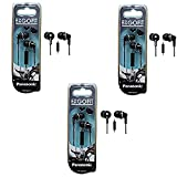 Panasonic ErgoFit In-Ear Earbud Headphones with Mic/Controller - 3 Pack (Black)