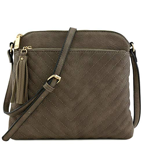 Chevron Quilted Medium Crossbody Bag with Tassel Accent Stone