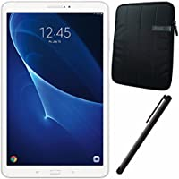 Samsung 10.1 Galaxy Tab A T580 16GB Tablet (White) SM-T580NZWAXAR + 10.1 Padded Case For Tablet + Universal Stylus for Tablets Bundle