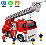 Fire Trucks for Boys - Firetruck & 5 Fireman-Toy with Water Shooting, Lights and Sounds, Friction Powered
