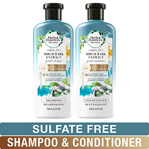 Herbal Essences Sulfate Free Shampoo and Conditioner Kit, BioRenew Birch Bark Extract, Safe for Color Treated Hair 13.5 & 12.2 fl oz, Kit ()