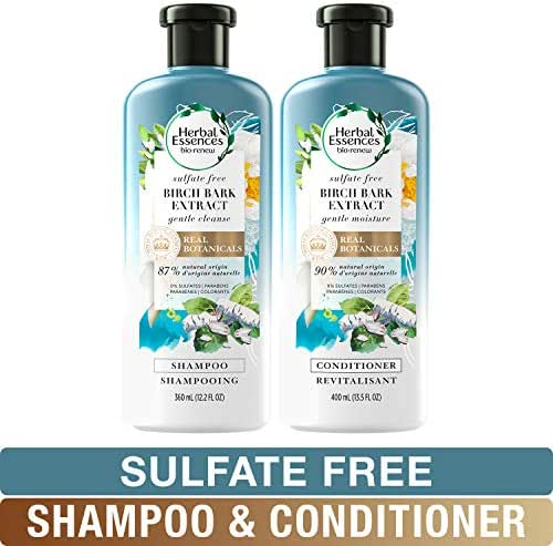 Herbal Essences, Sulfate Free Shampoo and Conditioner Kit, With Natural Source Ingredients, BioRenew Birch Bark Extract, Color Safe, 13.5 & 12.2 fl oz, Kit