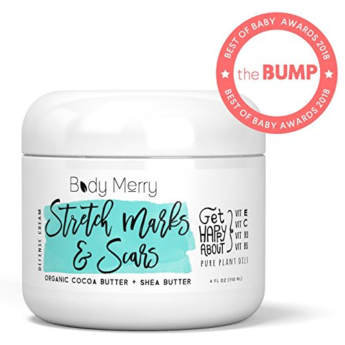 Stretch Marks & Scars Defense Cream Daily Moisturizer w Organic Cocoa Butter + Shea + Plant Oils + Vitamins to Prevent, Reduce and Fade Away Old or New Scars Best for Pregnancy, Men/Bodybuilders (4oz) ()