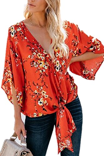 - DearQ Women's Summer Floral Print Tie Front V Neck Chiffon Tops Blouses Shirts Orange XL