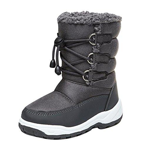 Hibote Unisex-Kinder Warm Gefütterte Schneestiefel, Winterstiefel 112705 Grau