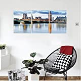 Liguo88 Custom canvas London Decor Wall Hanging the Big Ben and Houses of Parliament accros the River Great Britain International Photo Bedroom Living Room Decor Blue Cream