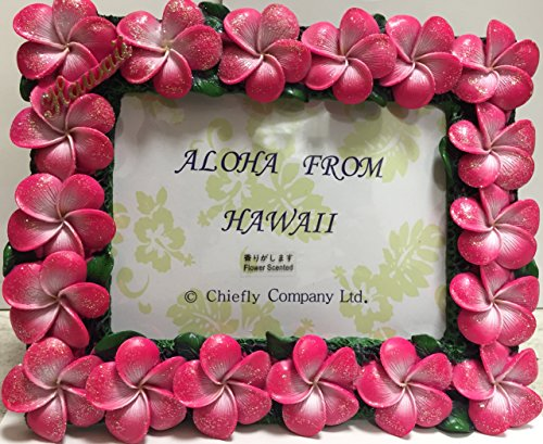 Pink Plumeria Flower Picture Frame. Name Marked '' Hawaii'' by Chiefly