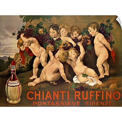 (CANVAS ON DEMAND Chianti Ruffino, Vintage Poster, by Leopoldo Metlicovitz Wall Peel Art Print, 60
