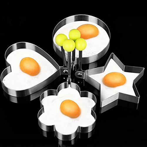Fried Egg Mold Ring,Baynne Stainless Steel Non-Stick Egg Shaper Ring,Kitchen Cooking Tools for Kids and Lovers Random Style