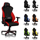 NITRO CONCEPTS S300 Gaming Chair - Office Chair - Ergonomic - Cloth Cover - up to 300 lbs Users - 90° to 135° Reclinable - Adjustable Height & Armrests - Inferno Red