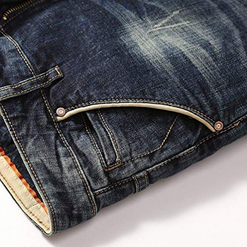 In Stretch Dritti Pantaloni Da Denim Casual Sottili Jeans Blau Slim Uomo Moda Vintage Fit 54avqRa