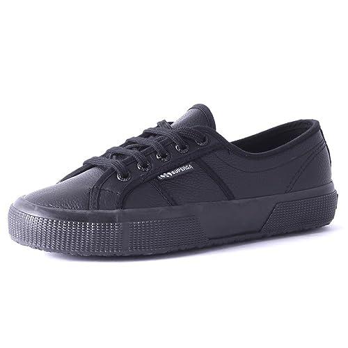 d594b76aae8a Superga Women s 2750-EFGLU Leather Lace Up Trainer Black-Black-6 Size 6