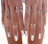 Sunscsc Vintage Silver Arrow Moon Turquoise Joint Knuckle Nail Midi Ring Set of 6 Rings