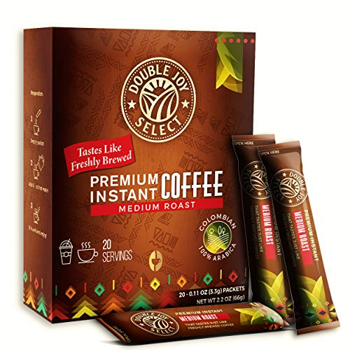 20 Instant Coffee Packets - Instant coffee singles Tastes Like Freshly Brewed - Medium Roast Colombian Blend Coffees for Travel or Work By Double Joy Select