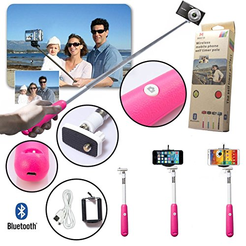 39 Inch Bluetooth Selfie Shutter Monopod Stick Self Portrait for iOS, Android Pink