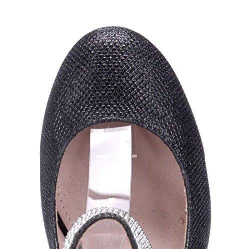Schuhtempel24 Damen Schuhe Spangenpumps Pumps Trichterabsatz Glitzer/Ziersteine 7 cm Schwarz