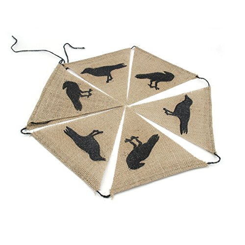 OULII Halloween Crow Flag Banner Home Hanging Decoration For Halloween Party Favors -