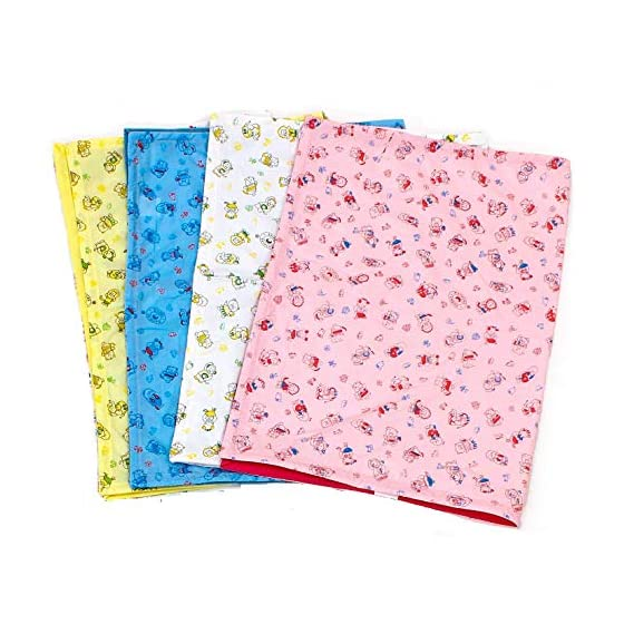 Yodream Water Proof Bed Protector For Baby Dry Sheet Small (70 Cm*50 Cm) (Pack Of 4) - Multi Color