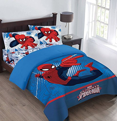 Marvel The Spiderman Webbed Wonder Twin Comforter Set along with Fitted Sheet