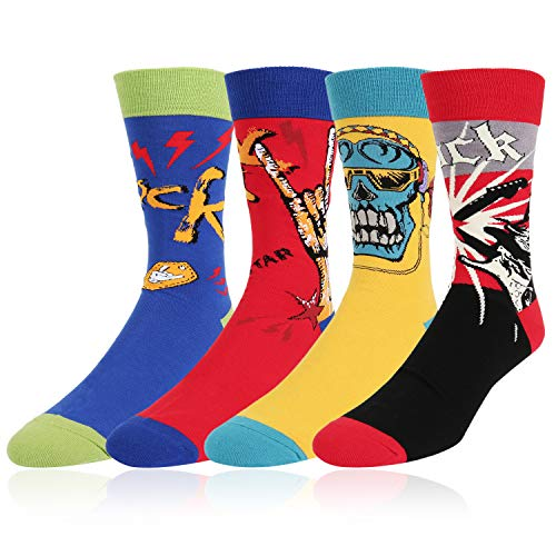 Novelty Crazy Rock and Roll Punk Crew Socks Funny Cool Music Cotton Socks 4 Pack with Gift Box ()
