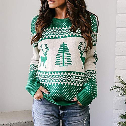 Moko-PP Women Christmas Sweater Long Sleeve O-Neck Christmas Tree Knit Sweater
