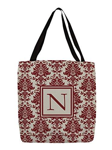Manual Woodworkers & Weavers Shopping Tote Bag, 13-Inch, Monogrammed Letter N, Crimson Damask