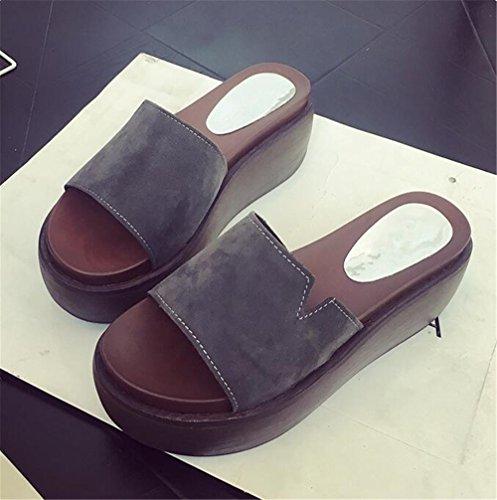 High Flower Sandals Bow Platform Wedge Sandals Grey Womens Flop Flip Sweet Sandals Heel Shape LYLIFE Thick Thong Plumeria Flowver qFw8xP8v