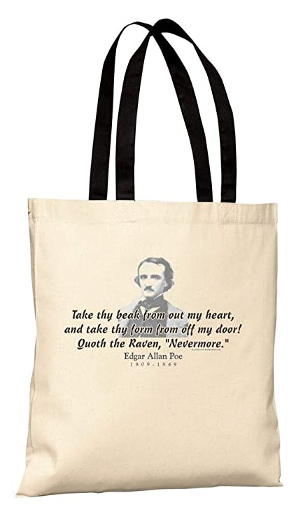 6439060d26 Amazon.com  ThinkerShirts Tote Bag - Edgar Allen Poe Quote - Quoth the Raven