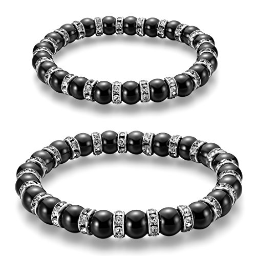 CAT EYE JEWELS 2pcs Energy Hematite Beads Beads Bracelets, Rhinestones Spacers Healing Energy Magnetic Gemstone Stretch Bracelets for Men - Stretch Large Bracelet Rhinestone