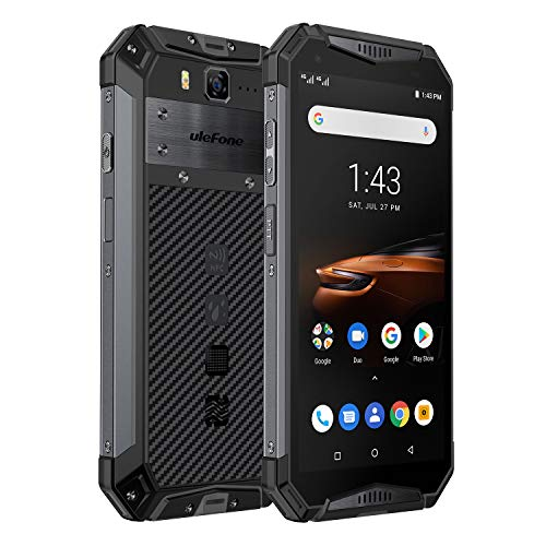 Rugged Phones Ulefone Armor 3W, IP68 Waterproof Cell Phone Unlocked, Android 9.0 10300mAh Big Battery, Dual 4G 5.7 Inch FHD+, 21MP+8MP Helio P70 6GB + 64GB Glonass+GPS Shockproof Dustproof (Black)
