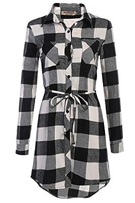 Misakia Women Casual Long Sleeve Button Down Plaid Shirt Checker Blouse with Belt