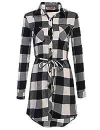 HOTOUCH Women's Black White Plaid Grid Checked Long Sleeve Shirt Dress