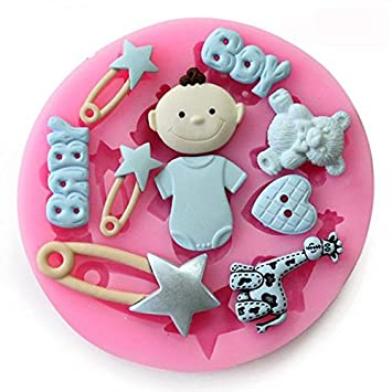 Baby Shower Baby Boy molde de silicona de repostería para Cupcake Topper para repostería decoración: Amazon.es: Hogar