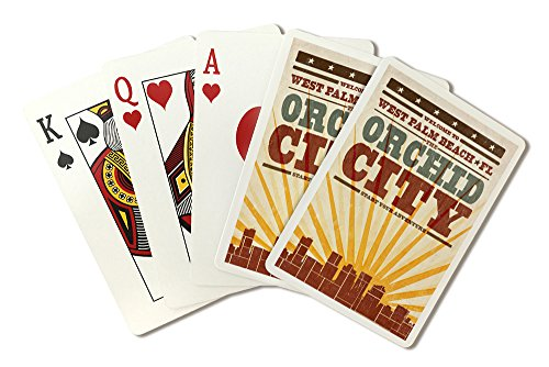 - West Palm Beach, Florida - Skyline and Sunburst Screenprint Style (Playing Card Deck - 52 Card Poker Size with Jokers)