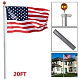 Topeakmart Heavy Duty 16'/ 20'/25'Aluminum Flagpoles American Residential or Commercial Flag pole Outdoor Halyard House Sectional Flag Pole Kit---w/ Topper Ball, 2pcs 3'x5' Flags/US Flag