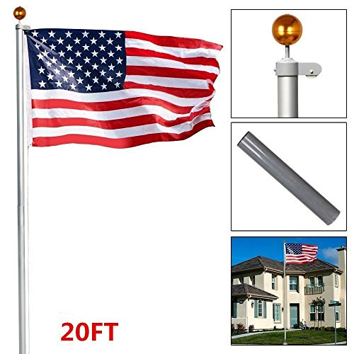 Topeakmart Heavy Duty 16'/20'/25'Aluminum Flagpoles American Residential or Commercial Flag pole Outdoor Halyard House Sectional Flag Pole Kit-w/Topper Ball, 2pcs 3'x5' Flags/US Flag