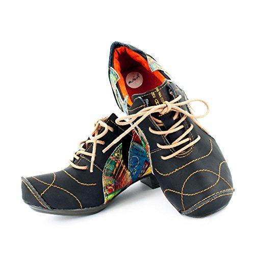 de Mujer TMA Shoes Zapatos 36 de Rojo Cordones Lisa Negro Piel para xUIOUwq