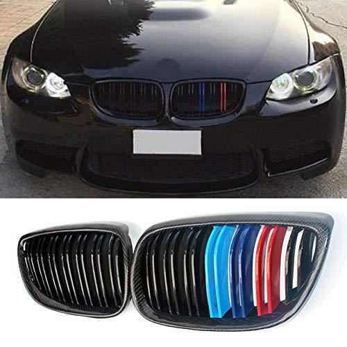 (Fandixin E92 Grille, Carbon Fiber Front Kidney Grill for BMW 3 Series E92 E93 Prefacelift 2007-2010)