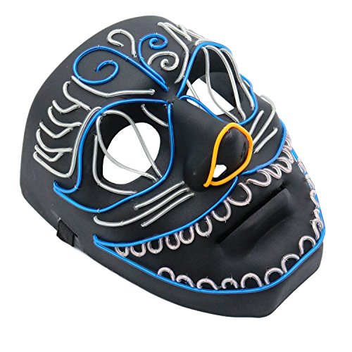 MuraK Light Up LED Scary Mask for Festival Halloween Costume Party ()