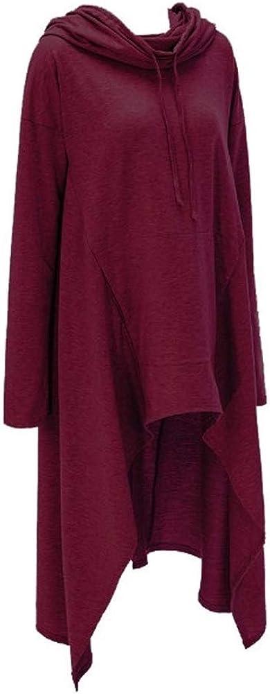 S.CHARMA Women High Collar Irregular Long Sleeve Shirt with Hat Ladies Loose Casual Hoodie Dress,Daily