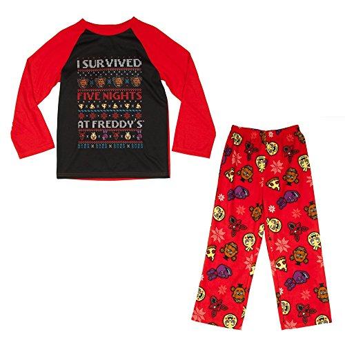 Five Nights at Freddys Boys Girls 5 Nights Pajama Set Freddy Holiday Shirt Pants (Large - 8)