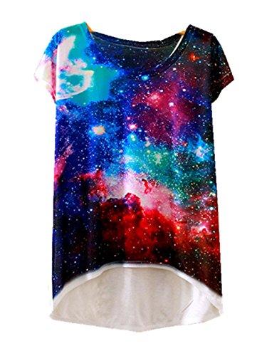Casual Stampata Di Camicia Sottili shirt Svago Galassia 1 T Ragazze Tee Moda Abbigliamento Donne Yichun Cime PfvqgXF