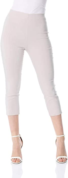 9dcf563acc9 Women Cropped Stretch Bengaline Trousers - Ladies Capri Midi Pull On  Tapered Pants 3 4 Crop Calf Length Comfy Elasticated Thick Leggings