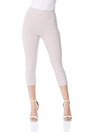 38bd0eb33d Roman Originals Women Cropped Stretch Bengaline Trousers Ladies Work Office  Crop Capri Pants Formal Summer 3/4 Length Elasticated Waist Leggings Pull  On ...