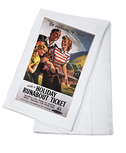 family-trio-on-holiday-runabout-savings-british-rail-poster-100-cotton-absorbent-kitchen-towel