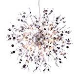 GDNS 12 Pcs Lights Chandeliers Firework LED Light Stainless Steel Crystal Pendant Lighting Ceiling Light Fixtures Chandeliers Lighting,Dia 23.5 inch For Sale